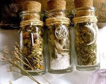 Custom Made Witch Spell Bottles/Protection Amulets