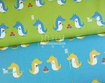 Kiyohana cotton linen Dentist crocodile fabric -50cm