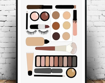 Beauty/make up haul fashion illustration print/poster/wall art in A3 size. For the home and makes a gorgeous gift!