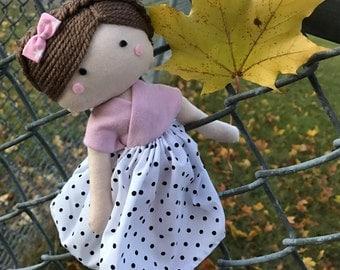 Fabric Doll. Handmade rag doll. Rag doll. Baby doll. gift for girls. cloth doll. soft doll. ragdoll.