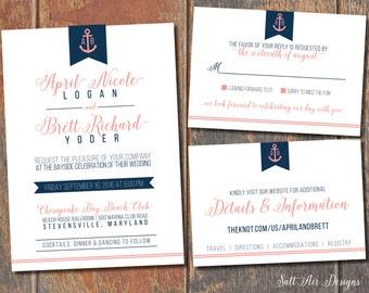 Printable Nautical Wedding Invitation Suite. Anchor. Coral & Navy Wedding Invitation.