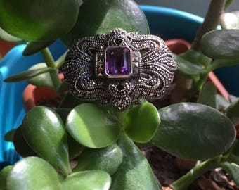 Amethyst and Marcasite Sterling Silver Brooch, by Judith Jack.