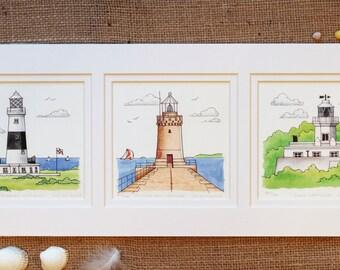Lighthouses TriptychPrint. Guernsey Light House, Alderney Lighthouse, SarkLighthouse