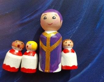 Peg doll Vicar with Choirboys