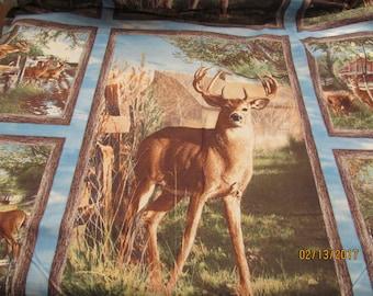 Deer Panel Quilt Fabric 100% Cotton