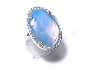 Blue chalcedony stone and silver ring