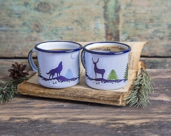 2 x enamel mug, camp mugs, travel enamel mugs, outdoor mugs, campfire mugs, travel mugs, camping mugs, FOREST – 1 x Deer and 1 x Wolf mug