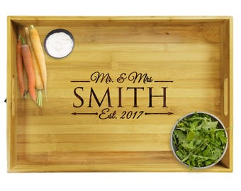Personalized Wedding Gift, Wood Tray, Personalized Tray, Personalized Platter, Housewarming Gift, Ottoman Tray, Serving Platter Tray Premium