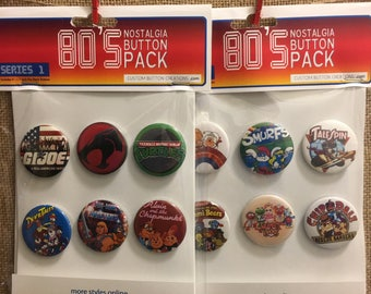 "Retro 1980's 1.5"" Pin Back Buttons (6pk) - SERIES 1 and 2"