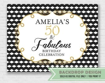 Fabulous Birthday Banner Backdrop // Adult Birthday Backdrop // 40 50 60 Fabulous Birthday Backdrop