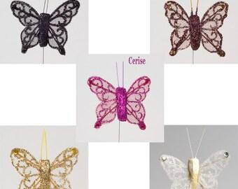 Sheer Glitter Butterflies 4cm on Wire x 24 Pack Wedding Decoration Embellishment Craft Cupcake Topper