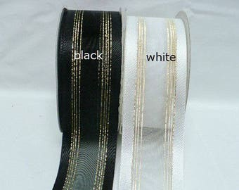 Sheer satin edge with multiple gold line, 1.5 inch wide, 25 yards