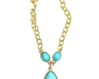 Turquoise and Brass Love Bracelet