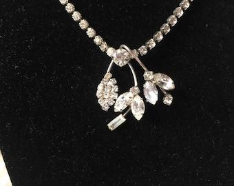 Rhinestone Necklace 50's era modern floral Choker Beautiful
