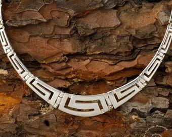 Meander Silver Necklace, Sterling Silver Jewelry, Greek Key Necklace, Ancient Greek Jewelry