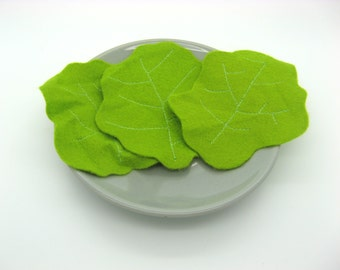 Salad in felt, lettuce leaves, toy, dinette in fabric, x 3