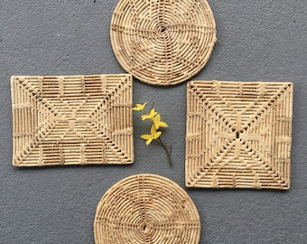 Set of Four Woven Trivets//Hot Pot Holders//Rattan Raffia Trivets//Square Rectangle Circle Trivets
