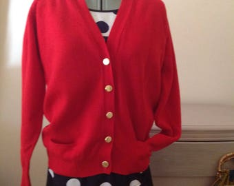 Retro  Pringle of Scotland red wool nautical knitted cardigan coat brass buttons size L 40 in. Made in Scotland.