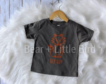 Kids Boys Orange and Grey Sly Guy Fox Infant or Toddler T-shirt top or custom colors available