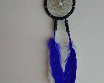 Bohemian dreamcatcher blue and white feathers small