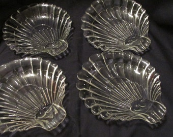 Glass Shell Dishes - set of 4