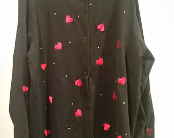 END of WINTER SALE! Quacker Factory embroidered Heart and Rhinestone embellished cardigan