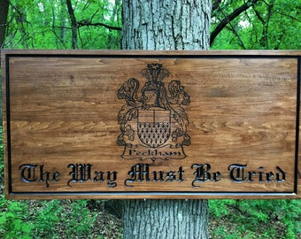 Custom Wood Carved Sign, Customized Family Name Sign, Family Crest sign, Personalized Wooden Sign, Housewarming Gift, Engraved Wood Sign