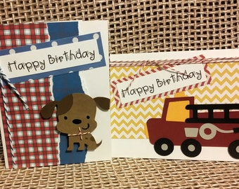 Fire Truck & Puppy -  Little Boy Birthday card set  -  Bright Colors