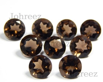25 Pieces Natural Smoky Quartz Faceted Cut Round Shape Loose Gemstone Calibrated High Quality