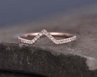 Sterling silver ring/Cubic Zirconia wedding band/CZ wedding ring/stackable ring/Matching band/rose gold plated/Curved Sharp V shape gap ring