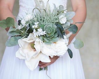 succulent bouquet magnolia bouquet wildflower bouquet white bridal bouquet greenery bouquet