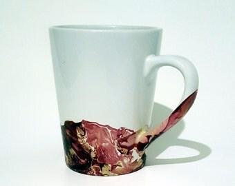 Burgundy and Gold Marble Mug