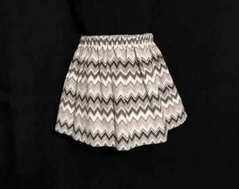 CLEARANCE!!  Toddler Skirt; Toddlers Gray & White Chevron Reversible Skirt; Girls Black Polkadot Reversible Skirt; Toddlers Chevron Skirt