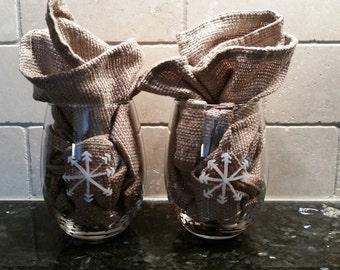 Hand painted snowflake wine glasses, set of 2; winter stemless; winter wedding stemless glasses