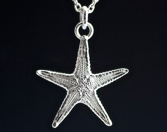 Silver Sea Star Necklace, full detail sea star, starfish necklace, sterling starfish, cast sea star, sea star pendant, silver starfish, boho