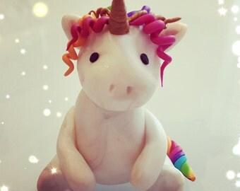 Rainbow Multicoloured Unicorn - Unique Magical Polymer Clay Gift!