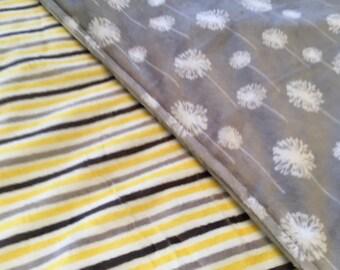 Gender Neutral Minky Blanket - Baby Blanket - Newborn Gift - Gray Blanket - Blue and Yellow Blanket - Minky Blanket