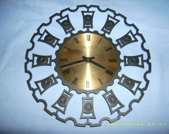 Wall Clock metal Weimar quartz DDR