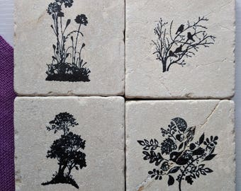 Nature Silhouette Coasters, set of 4, Natural Tumbled Stone, birds, flowers,trees