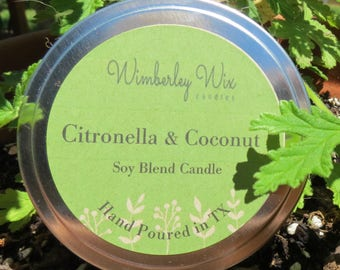 Citronella and Coconut soy candle//8 oz tin/cotton wick, no dyes or phthalates