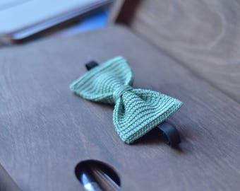 Teal crochet bow tie