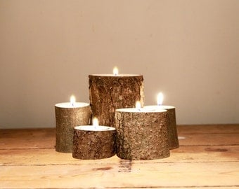 Log Tea Light Holder - Wedding Decorations / Candle Displays / Romantic Gift
