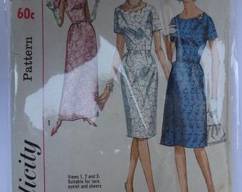 Simplicity 6030 Dress Pattern Size 14 1/2, Bust 35