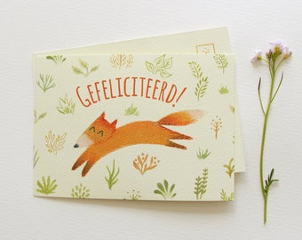 Map little Vixen, congratulations, greetings card, party, birthday, spring, Merry
