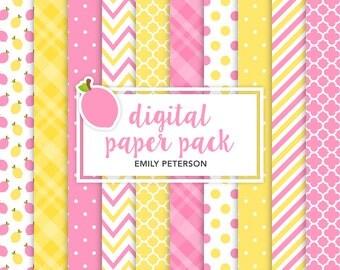 Lemonade, Lemon, Pink Lemonade - Cute Background, Digital Papers - Commercial Use, Instant Download