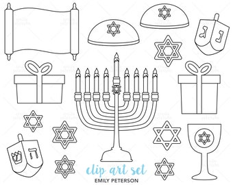 Hanukkah, Chanukah, Dreidel, Menorah - Cute Digital Stamps, Line Art  - Commercial Use, Instant Download
