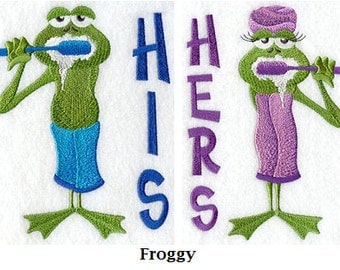 His and Hers Towel Set - Froggy