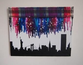 New York Skyline Melted Crayon Art