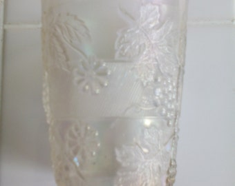 Carnival Glass Tumbler - Floral and Grape