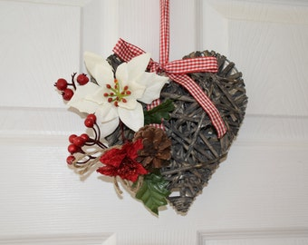 Wicker Heart Grey with White Poinsettia, Red Berries and Cone